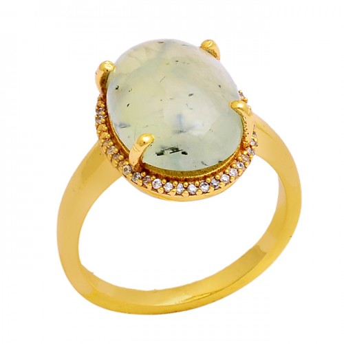 Cabochon Oval Shape Chalcedony Gemstone 925 Silver Gold Plated Ring