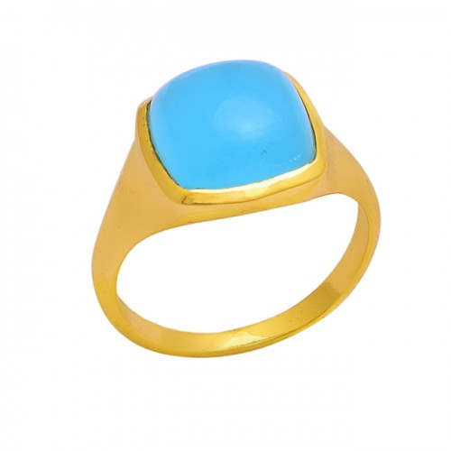 Square Shape Aqua Chalcedony Gemstone 925 Silver Gold Plated Ring