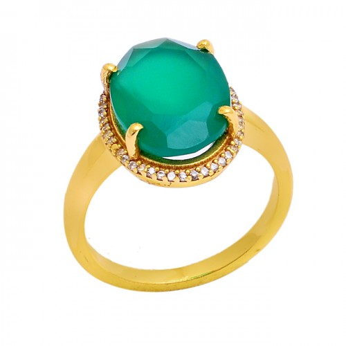 Oval Shape Green Onyx Gemstone 925 Sterling Silver Gold Plated Ring