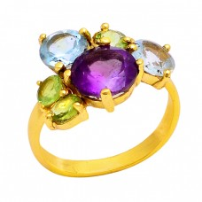 Amethyst Blue Topaz Peridot Gemstone 925 Silver Gold Plated Ring Jewelry