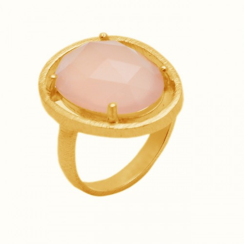 Rose Quartz Oval Shape Gemstone 925 Sterling Silver Gold Plated Ring Jewelry