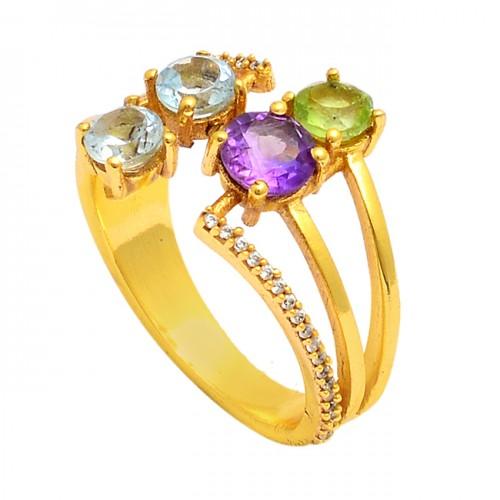 925 Sterling Silver Round Shape Gemstone Gold Plated Designer Ring