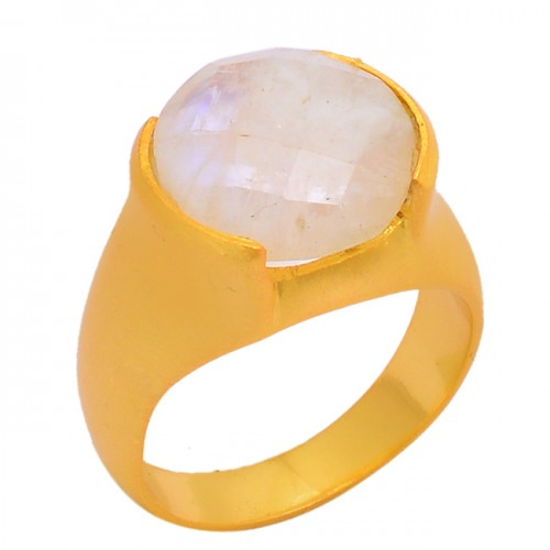 Round Shape Rainbow Moonstone 925 Sterling Silver Gold Plated Ring