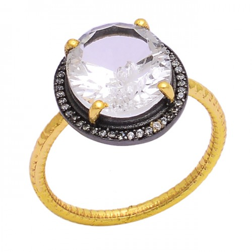 Faceted Oval Shape Crystal Quartz Gemstone 925 Silver Gold Plated Ring