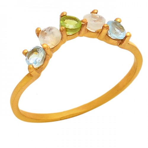 Blue Topaz Peridot Moonstone 925 Sterling Silver Gold Plate Ring Jewelry