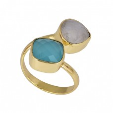 Chalcedony Moonstone 925 Sterling Silver Gold Plated Designer Ring
