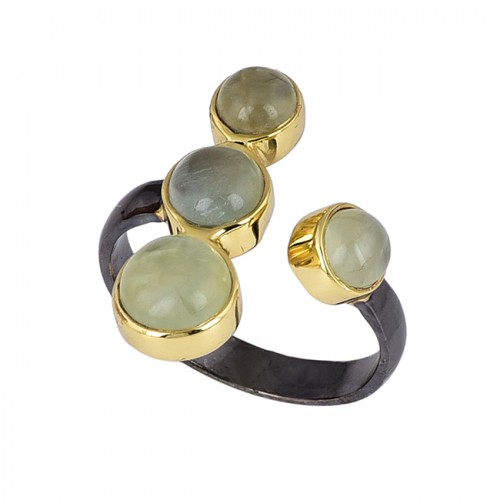Cabochon Round Shape Chalcedony Gemstone 925 Silver Black Rhodium Ring