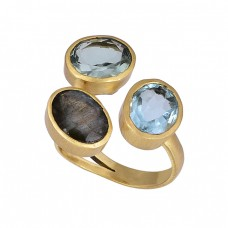 Oval Shape Topaz Labradorite Gemstone Gold Plated Ring Jewelry