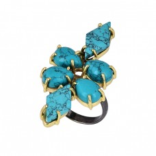 Pear Marquise Shape Turquoise Gemstone 925 Silver Gold Plated Ring