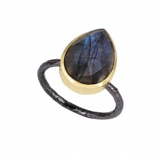 Pear Shape Labradorite Gemstone 925 Sterling Silver Gold Plated Ring