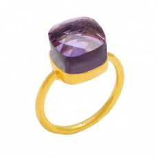 Amethyst Highdoom Cushion Shape Gemstone 925 Sterling Silver Gold Plated Ring Jewelry