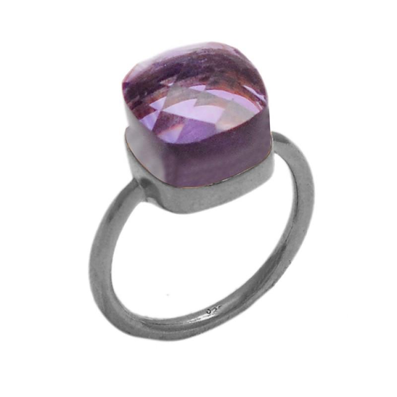 Amethyst Highdoom Cushion Shape Gemstone 925 Sterling Silver Gold Plated Ring Jewelry