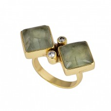 Square Round Chalcedony Cz Gemstone 925 Sterling Silver Gold Plated Ring