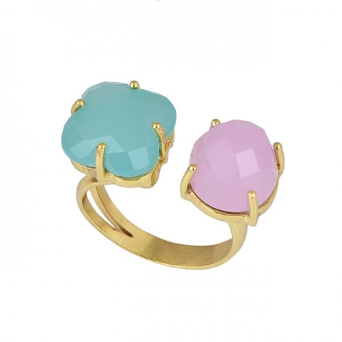Chalcedony Square Round Shape Gemstone 925 Silver Gold Plated Ring