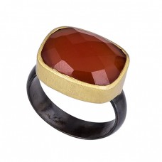 Rectangle Shape Carnelian Gemstone 925 Silver Black Rhodium Ring Jewelry