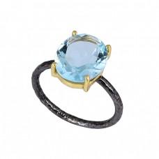 Oval Shape Blue Topaz Gemstone 925 Sterling Silver Black Rhodium Ring