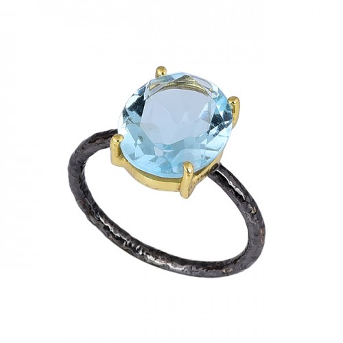 Oval Shape Blue Topaz Gemstone 925 Sterling Silver Black Rhodium Ring