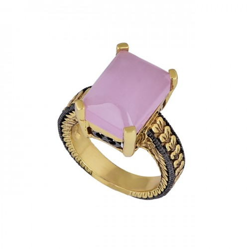 Rectangle Shape Rose Chalcedony Gemstone 925 Silver Gold Plated Ring