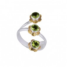 Faceted Round Shape Peridot Gemstone 925 Silver Gold Plated Designer Ring