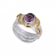 Oval Shape Amethyst Gemstone 925 Sterling Silver Gold Plated Ring