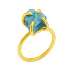Apatite Rough Gemstone 925 Sterling Silver Gold Plated Prong Setting Ring Jewelry
