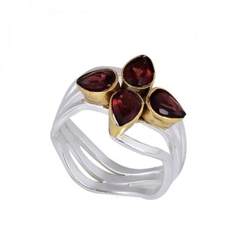 Pear Shape Garnet Gemstone 925 Sterling Silver Gold Plated Designer Ring