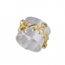 Round Shape Cubic Zirconia Gemstone 925 Sterling Silver Gold Plated Ring