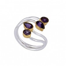 Pear Round Shape Amethyst Gemstone 925 Sterling Silver Designer Ring