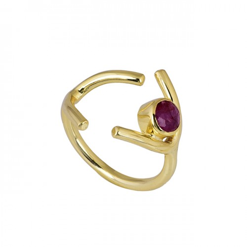 Faceted Round Shape Ruby Gemstone 925 Sterling Silver Gold Plated Ring