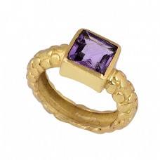 Square Shape Amethyst Gemstone 925 Sterling Silver Gold Plated Ring