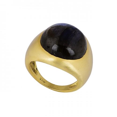 Cabochon Round Shape Labradorite Gemstone 925 Silver Gold Plated Ring