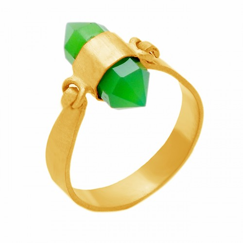 Pencil Shape Prehnite Chalcedony Gemstone 925 Sterling Silver Gold Plated Ring