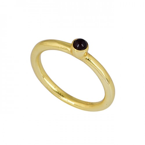 Round Shape Black Onyx Gemstone 925 Sterling Silver Gold Plated Ring