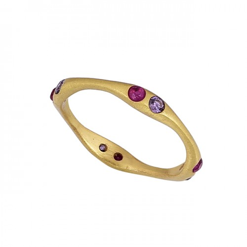 925 Sterling Silver Round Shape Gemstone Gold Plated Ring Jewelry