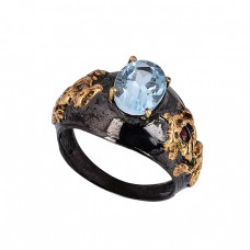 Oval Shape Blue Topaz Gemstone 925 Silver Black Rhodium Ring Jewelry