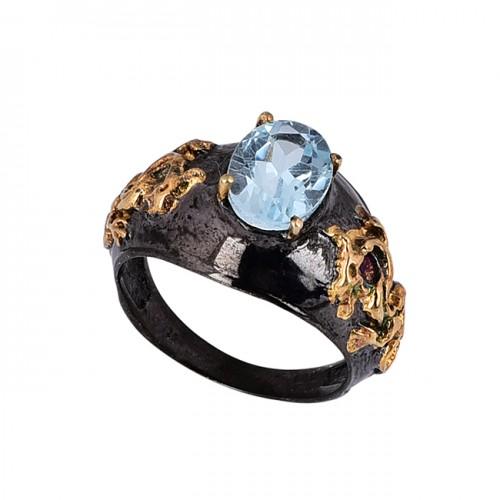 Oval Shape Blue Topaz Gemstone 925 Silver Black Rhodium Ring Jewelry