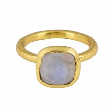 Square Shape Moonstone 925 Sterling Silver Gold Plated Ring Jewelry