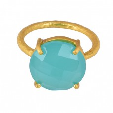 Round Shape Aqua Chalcedony Gemstone 925 Silver Gold Plated Ring