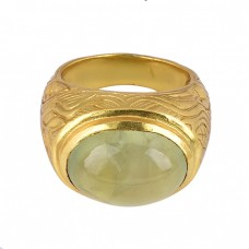 Oval Shape Prehnite Chalcedony Gemstone 925 Silver Designer Ring