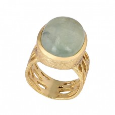 Cabochon Oval Chalcedony Gemstone 925 Silver Gold Plated Ring Jewelry