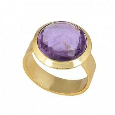 Faceted Round Shape Amethyst Gemstone 925 Sterling Silver Gold Plated Ring