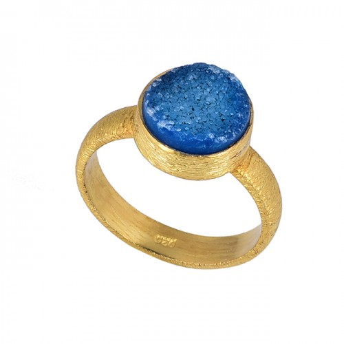 Blue Druzy Round Shape Gemstone 925 Sterling Silver Gold Plated Ring