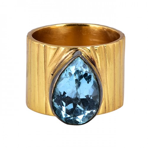 Pear Shape Blue Topaz Gemstone 925 Sterling Silver Gold Plated Ring
