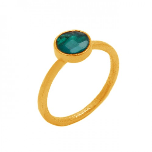 Briolette Round Shape Emerald Gemstone 925 Sterling Silver Gold Plated Jewelry Ring