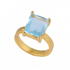 Rectangle Shape Blue Topaz Gemstone 925 Sterling Silver Gold Plated Ring