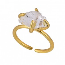 925 Sterling Silver Herkimer Diamond Rough Gemstone Gold Plated Ring
