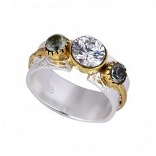 Round Shape Cubic Zirconia Gemstone 925 Silver Handmade Designer Ring