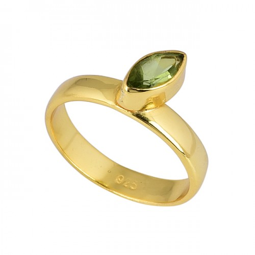 Marquise Shape Peridot Gemstone 925 Sterling Silver Gold Plated Ring