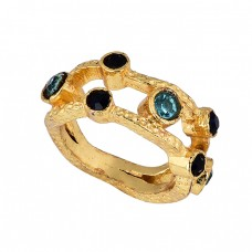 Round Shape Onyx Topaz Gemstone 925 Sterling Silver Gold Plated Ring