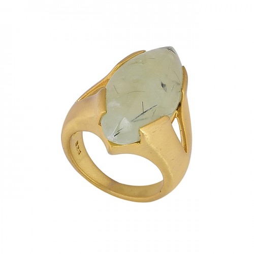 925 Sterling Silver Chalcedony Gemstone Gold Plated Ring Jewelry